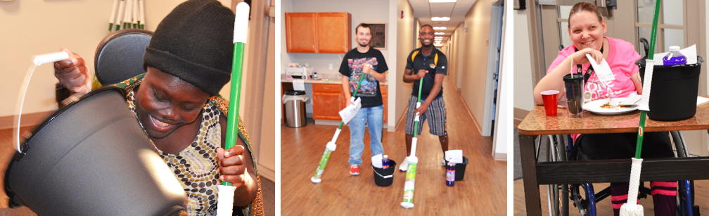 Individuals utilize mops and other cleaning supplies.